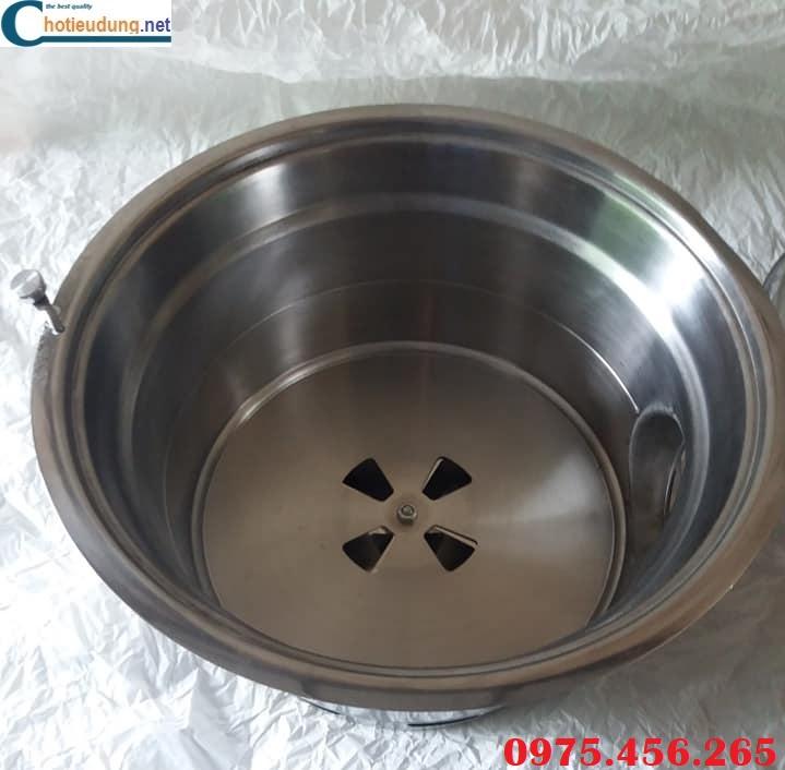 bếp nướng than hoa không khói hút âm bàn , bếp có cần gạt chỉnh gió ở dưới đáy bếp