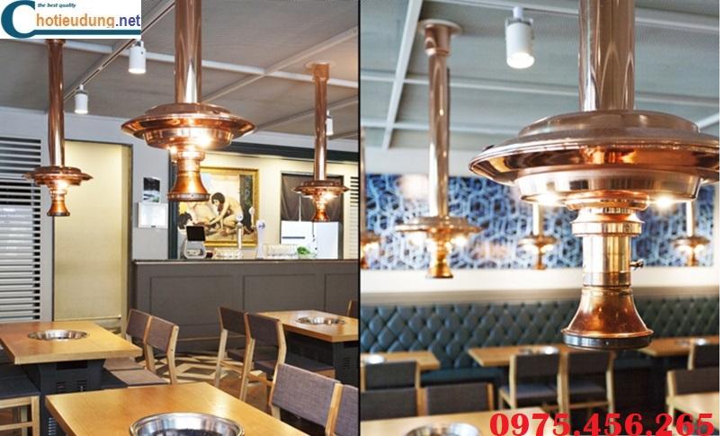 ống hút khói bếp nướng tại bàn , chao đèn ống hút khói màu đồng