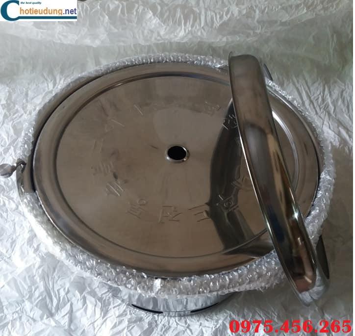 bếp lẩu nướng than hoa âm bàn bao gồm bếp , xô than, vỉ nướng và nắp đậy