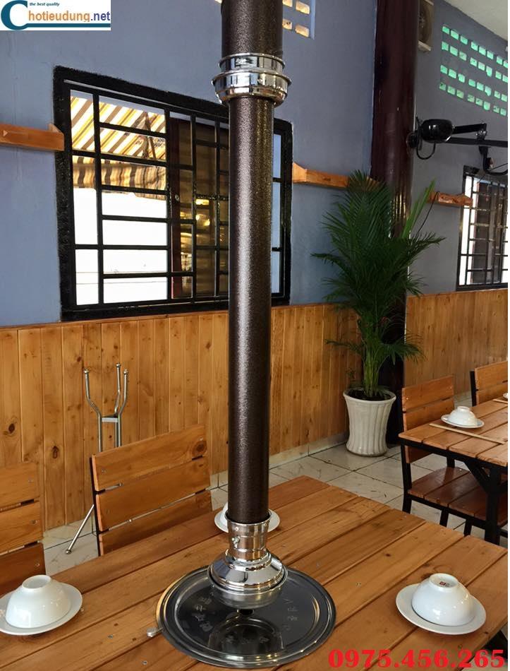 Chụp hút mùi bếp nướng màu nâu cafe tại bàn , ống hút khói bếp nướng tại bàn giá rẻ nhất
