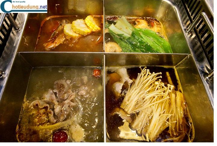 Bếp lẩu inox 4 ngăn âm bàn nhà hàng giá tốt chất lượng cao