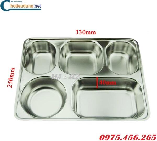 Kích thước khay ăn inox 304 5 ngăn dùng cho công nhân nhà máy