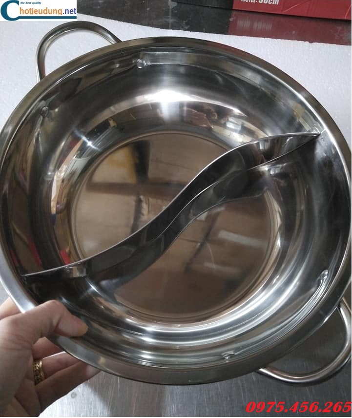 Nồi lẩu inox 2 ngăn kích thước 27cm giá rẻ nhất tại hà nội