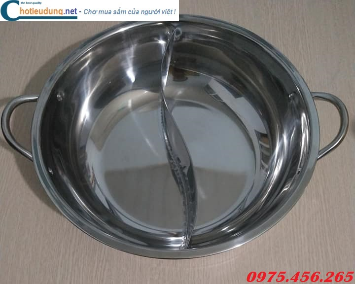 Bán buôn - bán lẻ nồi ( xoong) nấu lẩu inox 2 ngăn tròn cho nhà hàng giá rẻ nhất