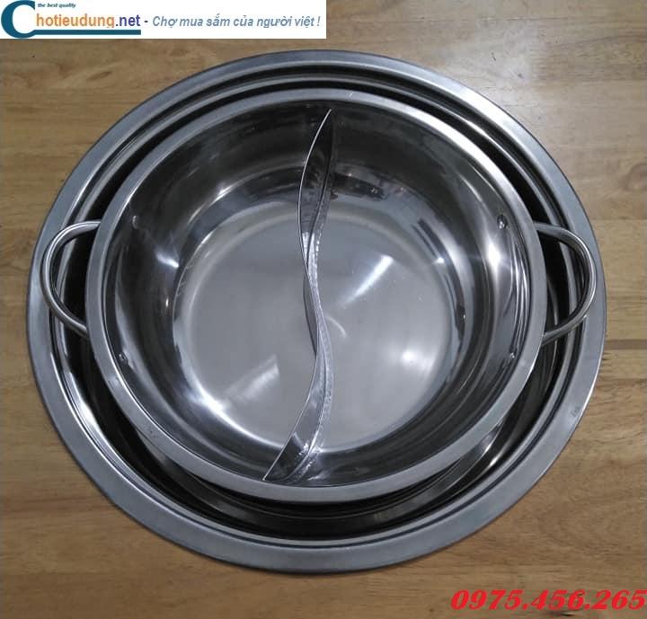 Vành đỡ bếp từ lẩu âm bàn tròn và nồi ( xoong) nấu lẩu inox 2 ngăn tròn giá tốt nhất