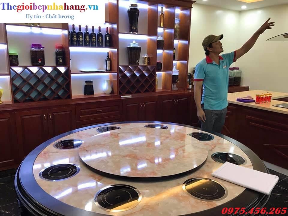 Cách lắp đặt bếp từ lẩu âm bàn tròn cô đơn 1- 2 người ăn cho nhà hàng