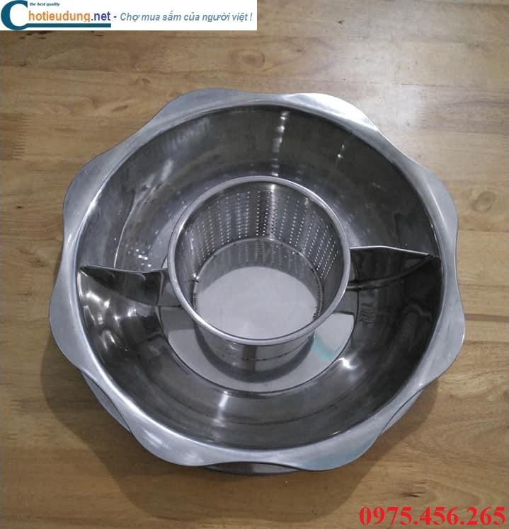 Giá bán bếp ( nồi ) lẩu 3 ngăn tròn âm bàn nhà hàng tại hà nội