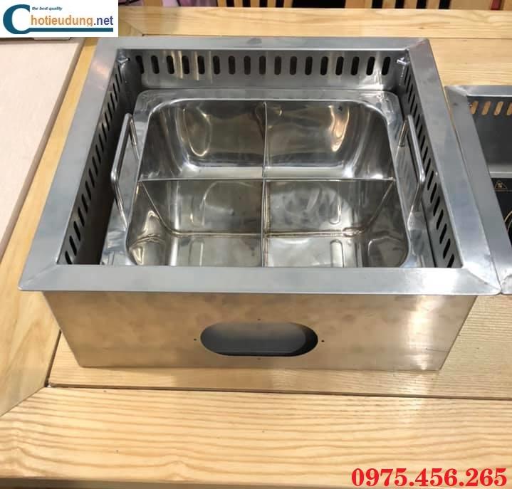 Bếp lẩu 4 ngăn âm bàn khung bằng có hút mùi khói giá tốt tại Hồ Chí Minh
