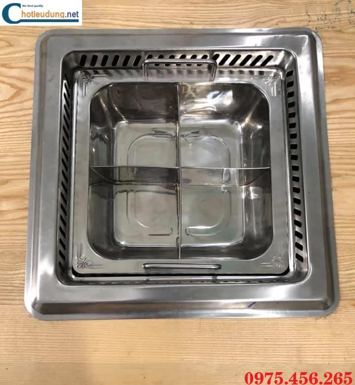 Bếp ( nồi ) lẩu 4 ngăn âm bàn có hút mùi khói giá rẻ tại Hà Nội